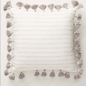 ANTHROPOLOGIE PILLOW; NWT; White/Gray with Tassels